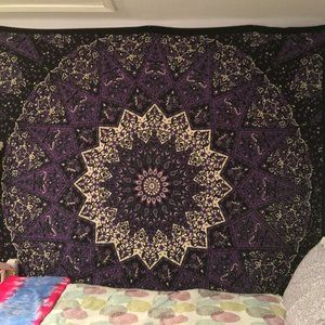 Purple and White Mandala Square Wall Tapestry